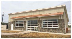 Glass paneled overhead doors,