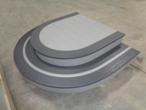 Custom Gray Two Toned Curved Steps