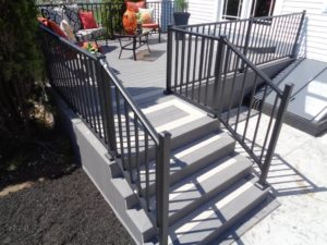 Two Toned Gray Stairs with Black Aluminum Railing
